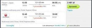 Warszawa- Helsinki- Osaka Finnair lipiec