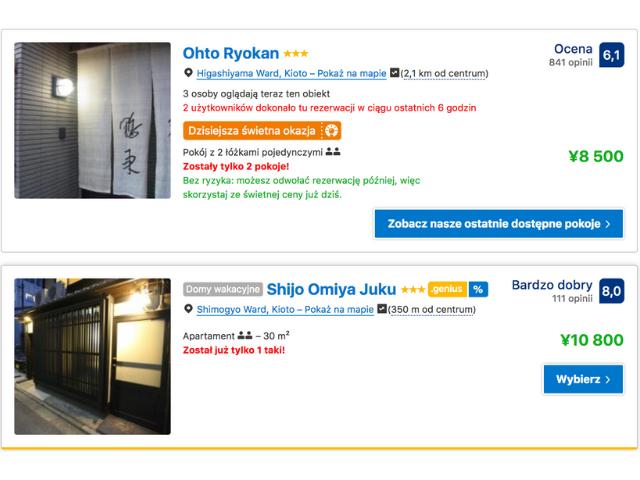 hotele w japonii jesień ceny